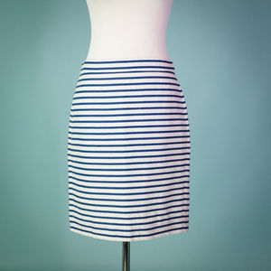 J Crew 4 Blue Nautical Beach Stripe Pencil Skirt